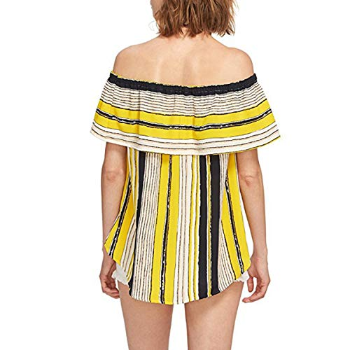 Yellow Top Femmes Ruffles Low Off L'paule Haute Srtiped Tunique sans Manches Blouse ww4ZOHPqv