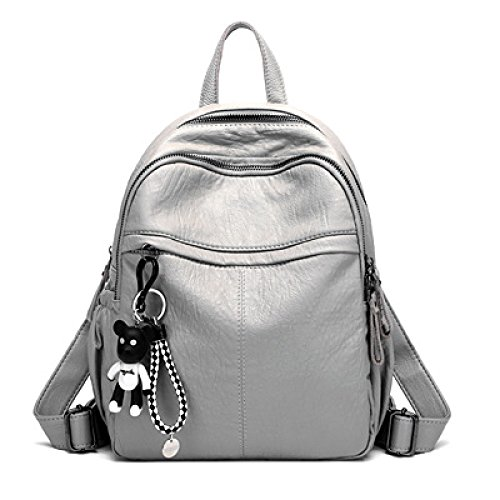 Backpack Shoulder Bag Women's Small Leather Pack School Backpack Backpack Casual Day Trip, Black-23 * 12 * 30cm Gray