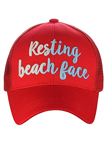 (C.C Ponycap Color Changing 3D Embroidered Quote Adjustable Trucker Baseball Cap, Resting Beach Face, Red)