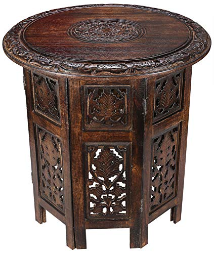 Solid Wood Hand Carved Accent Table, Side Table, entryway Table, Wooden end Table, Bedside Table, Octagonal Wooden Table - 18 Inch Round Top x 18 Inch High - Burnt