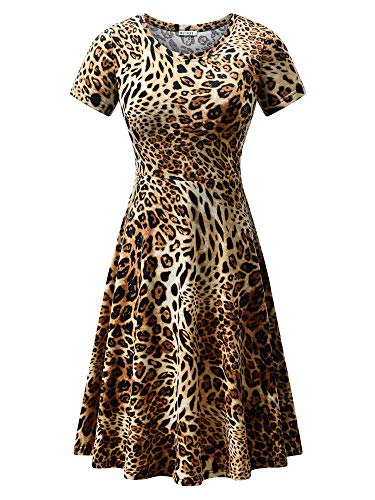 HUHOT Leopard Shirt Dress,Short Sleeve Women Sexy A line Midi Dress Printed Fashion ((18028-33,S)
