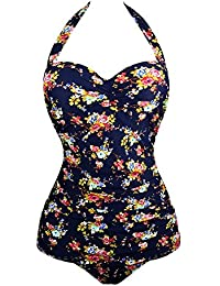 307ee73faefac Vintage Halter Swimsuit Monokini One Piece Swimwear Bathing Suits