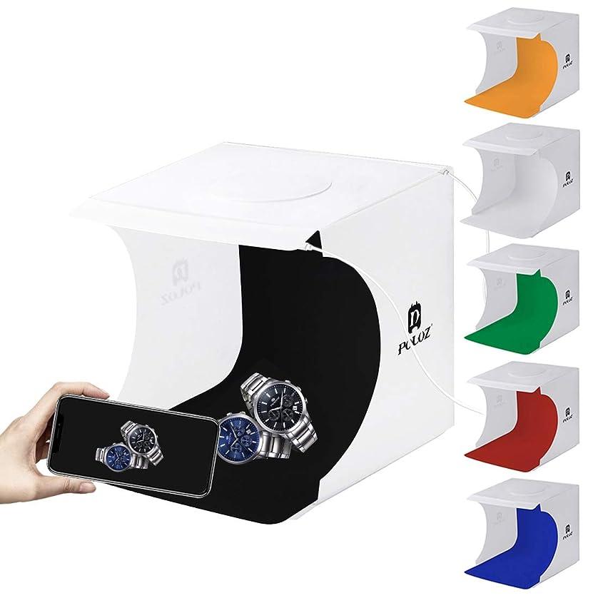 はず水リーフレット【ハンドメイド素材店チャチャ】小型 撮影ボックス (22×23×24cm) LED ライト 付き USB給電 セット 組み立て簡単 折り畳み 携帯型 撮影ブース