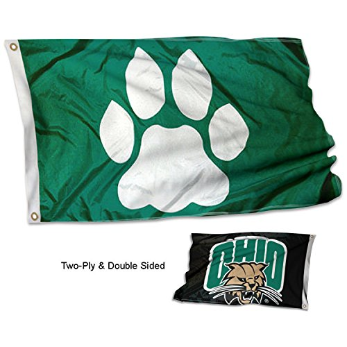 College Flags and Banners Co. Ohio University Bobcats Dual Logo Double Sided (Ohio University Bobcats Logo)