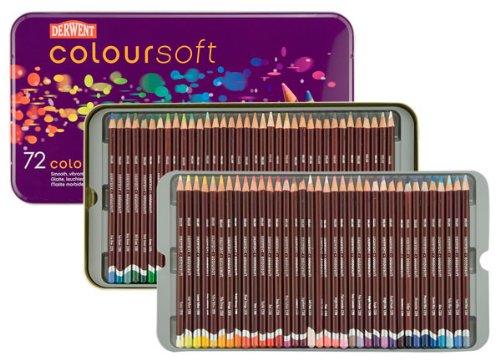 - Derwent Coloured Pencils, Coloursoft Pencils, Drawing, Art, Metal Tin, 72 Count (0701029)