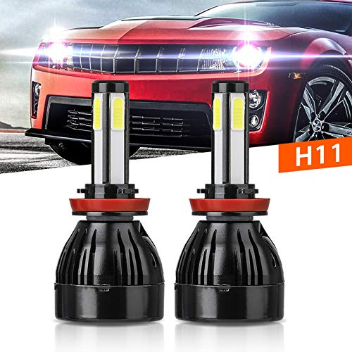 - H11 LED Headlight Bulb, Linkstyle 80W 8000Lumens H8 H9 4 Sides Illuminate Conversion Kit COB Chips With IP68 Waterproof 6000k -2 Years Warranty