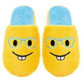 Chatties Ladies Terry Cloth Slip On Embroidered Novelty Bedroom Slippers, 11, Bucktooth Glasses