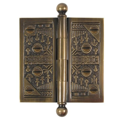 Brass Elegans WC006AB Solid Brass Windsor Design 4-Inch Decorative Door Hinge with Brass Screws, Antique Brass Finish
