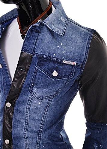 D&R Fashion Lumière Denim Hommes Veste Faux Finitions en cuir et poches