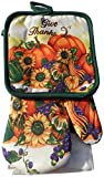 Give Thanks Fall Harvest 5 Piece Kitchen Towel Set - 2 Towels, 1 Oven Mitt, 2 Pot Holders