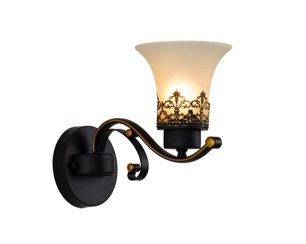 Wandleuchte LED Antik Kreative Nostalgie Retro Wandlampe 1-flammig Metall Glas Design Wandbeleuchtung für Nachttischlampe Wohnzimmer Schlafzimmer Esszimmer Loft Aisle Balkon Flur Lampe E27 Fassung (Ø22CM×27CM) [Energieklasse A+] JINHUI