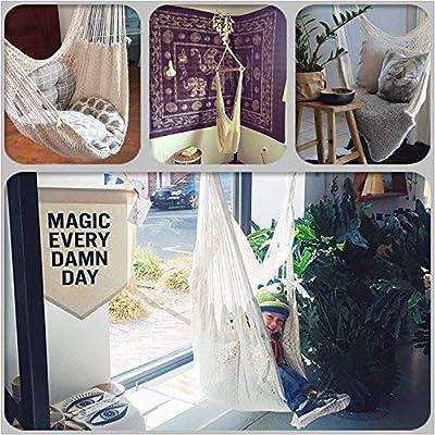 Karriw Hammock Chair, Mesh Hanging Chair, Polyester Cotton Swing Seat, 260LBS Weight Capacity (Beige): Garden & Outdoor