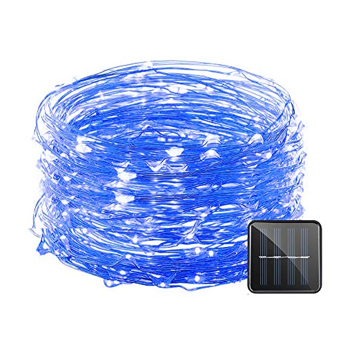 Vmanoo Solar String Lights, 32 Feet 100 LED Starry String Lights Copper Wire Lights, Indoor Outdoor Lighting for Home, Garden, Party, Path, Lawn, Wedding, Christmas, DIY Decoration, 1-Pack (Blue)