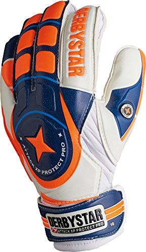 Derbystar Fingersave Torwarthandschuhe Attack XP Protect Pro, weiß blau orange 2649
