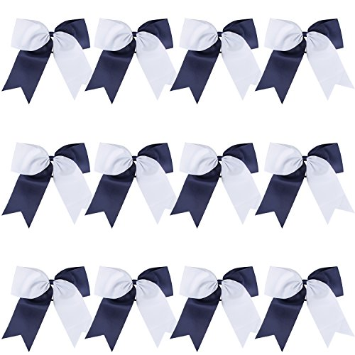 8 2 Colors Jumbo Cheerleader Bows Ponytail Holder Cheerleading Bows Hair (Navy blue/White)