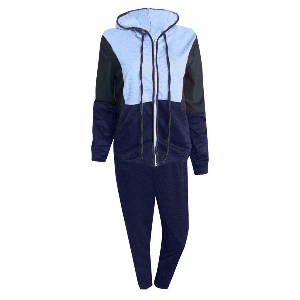Fashion Women Casual Splice Zipper Long Sleeves Tracksuit Sweatshirt Pullover Sport Tops+Pants Hoodies Anime Hoodie Set by iLUGU (Image #2)