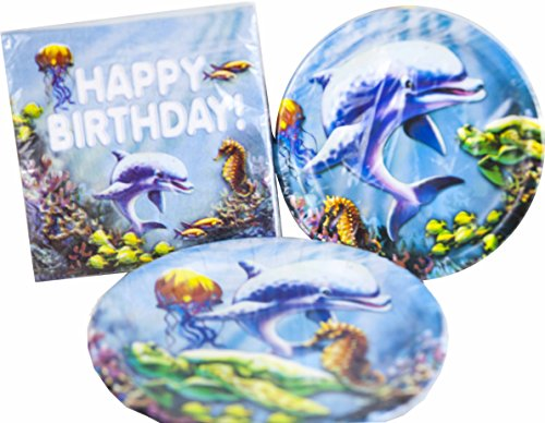 Happy Birthday Under The Sea Theme Paper Plates Napkins Party Pack - Serves 18 (58 Piece (Under The Sea Birthday Party)