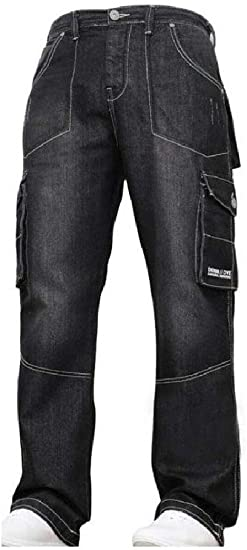 Romancly Mens Relaxed Fit Cargo Work Big and Tall Relaxed-Fit Wash Straight Jean