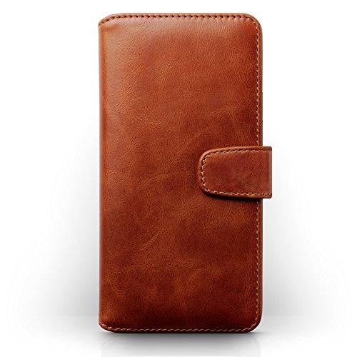 Coque Cuir iPhone 7 Plus, Terrapin Étui Housse en Cuir Véritable pour iPhone 7 Plus Étui - Cognac