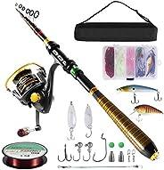 Milerong Fishing Rod and Reel Combo,Telescopic Fishing Pole with Spinning Fishing Reel, Portable Travel Fishin