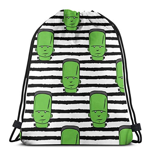 Frankenstein On Stripes - Halloween_2376 3D Print Drawstring Backpack Rucksack Shoulder Bags Gym Bag for Adult 16.9
