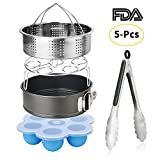 Esjay Accessories Set for Instant Pot-Fits 5,6,8Qt Instant pot Pressure Cooker,5-Pcs with Steamer Basket/Egg Steamer Rack/Egg Bites Molds/Non-stick Springform Pan/Kitchen Tongs,Best Gift Idea