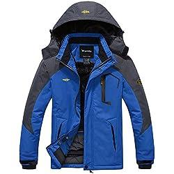 Wantdo Men's Waterproof Mountain Jacket Fleece Windproof Ski Jacket US 2XL Sky Blue 2XL