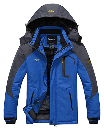 (Wantdo Men's Waterproof Mountain Jacket Fleece Windproof Ski Jacket US L  Sky Blue L)