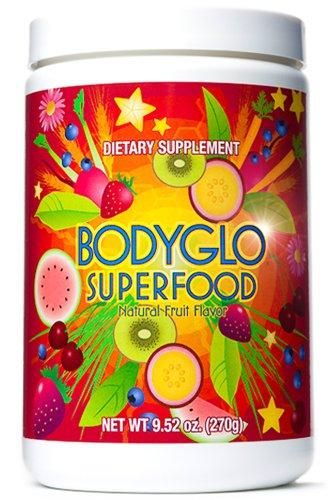 Superfood poudre totale BodyGlo pour l'alimentation, perte de poids, regain d'énergie, de désintoxication ou à faire sauter les radicaux libres nocifs de votre corps. Meilleur superaliment à base de plantes de supplément nutritionnel. 70 fruits délicieux,