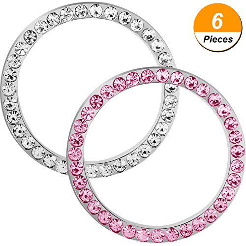 TOODOO 6 Pieces Crystal Rhinestone Car Bling Decorations Ring Emblem Sticker Decor Car Engine Start Stop Accessories for Men and Women (White and Pink)