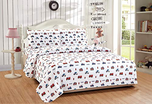 Full Size 4pc Sheet Set for Kids Heroes Fire Fighter Fire Trucks Police Car Ambulance Paramedic Navy Blue Red White Light Blue Grey Green New