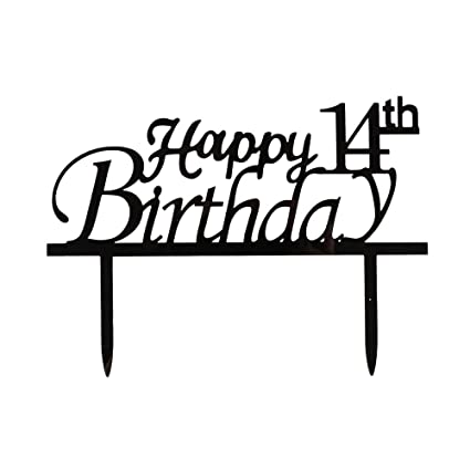 Amazon Happy 14th Birthday Cake Topper Black Acrylic