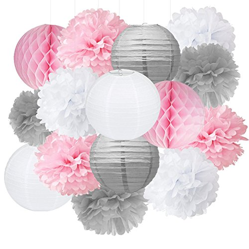 Baby Shower Decorations Furuix 15pcs Pink Grey White Party Decoration Kit Tissue Paper Pom Pom Honeycomb Ball for Bridal Shower Girls' Birthday Wedding Birthday Party Decoration -