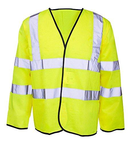 Forever Mens Hi Viz Long Sleeve High Vis Visibility Waistcoat Workwear Vest Jacket