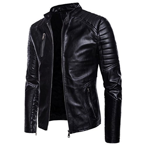 Jacket Motorcycle Black Fitted Premium Punk Men Mogogo Stand Pu Zipper Collar Coat v1ZPqw