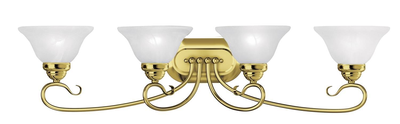 浴室洗面化粧台4ライトwithホワイトアラバスターガラスPolished Brassサイズ36.25 in 400ワット – 世界のクリスタル B01N1093YM