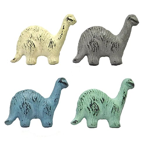 Set of Four Cast Iron Dinosaur Drawer Pulls in Pastel Colors Green Color Drawer Pulls Knobs
