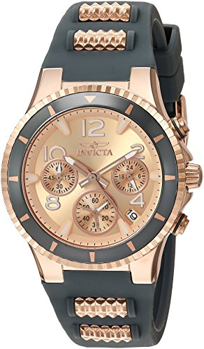 Invicta Women s BLU Stainless Steel Quartz Watch with Silicone Strap, Two Tone, 1 Model 24189