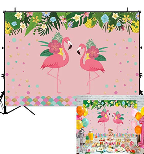 Allenjoy 7x5ft Tropical Flamingo Theme Pink Backdrop Green Leaves Colorful Flowers Dots Hawaiian Aloha Party Dessert Table Decoration Banner for Kids Children Girls Photo Shoot Background ()