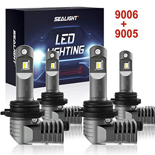 9005/HB3 9006/HB4 LED Headlight Bulbs 1:1 Design with Fan, SEALIGHT S2 Series Upgraded CSP Chips 6000K Xenon white IP67 Combo Package-2 Year Warranty (4 Pack)