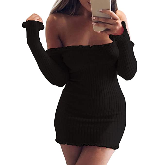 Kinikiss Mujer Vestido Otoño Invierno Manga Larga Moda Atractivas Fiesta Coctel Vestidos Cortos