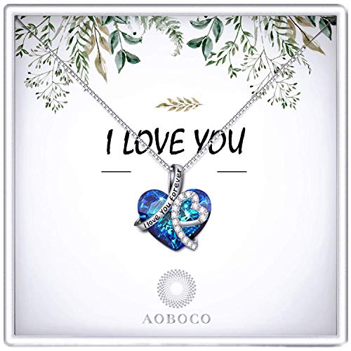 Anniversary Necklace Gift for Her Wife Sterling Silver, Birthday Gifts for Women Swarovski Blue Heart Crystal Pendant Jewelry (Gift Box- Leaf)