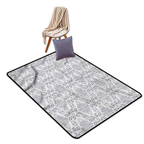Indoor/Outdoor Rug,Grey Victorian Regency Tile,Anti-Slip Doormat Footpad Machine Washable,4'7