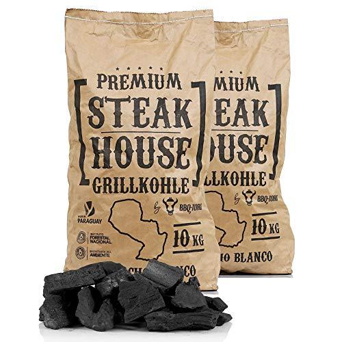 BBQ-Toro Premium Steak House Grillkohle | 20 kg | Querbracho Blanco Kohle | Holzkohle in Restaurant Qualität…