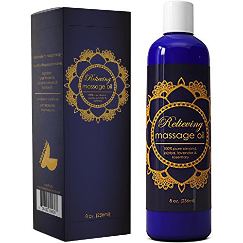 Hypoallergenic Massage Oil for Pain Relief - Muscle Relief Essential Oil Massage Blend - Anti Cellulite Massage Oil for Men and Women - Natural Anti Aging Oil - Deep Tissue Massage Oil with Lavender
