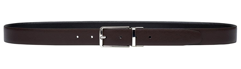 PELPE- Cinturón Reversible de Piel para Hombre Marrón y Negro en estilo Liso y Safiano aTP6Y1C5RV