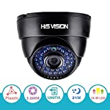 """HISVISION 1/3"""" CMOS 1200TVL CCTV Home Surveillance 3.6mm lens with IR Cut Wide Angle Dome Security Camera,36pcs Infrared LEDs,70ft IR Distance,Plastic Casing Black"""