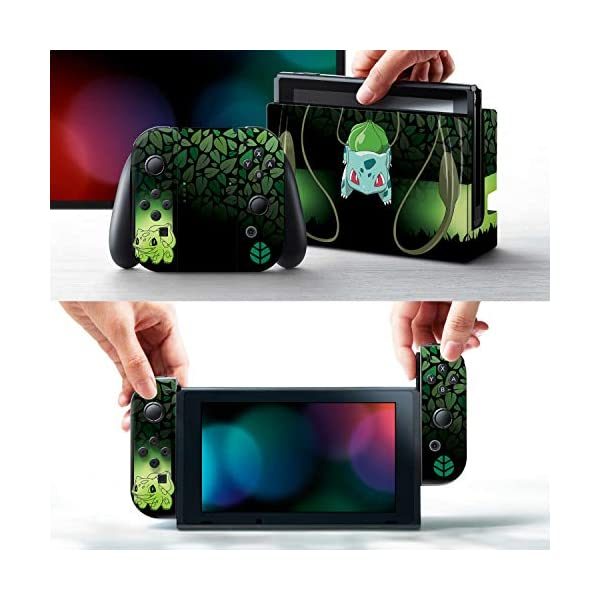 "Controller Gear Officially Licensed Nintendo Pokémon Switch Skin & Screen Protector ""Bulbasaur Elemental Set 1"" 2"