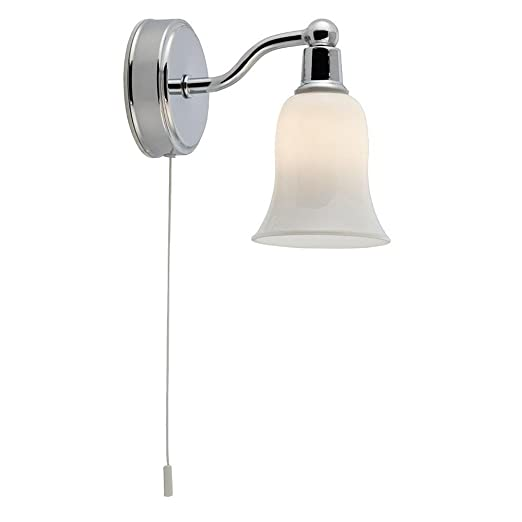 Led chrome bathroom switched wall light with glass shade amazon led chrome bathroom switched wall light with glass shade aloadofball Gallery
