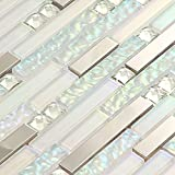 Wall Mosaic White Iridescent Tile Backsplash Silver Stainless Steel Kitchen Glass Tiles Mirror Diamond Showr Wall Art Deco Sheets (1PCS Small Sample 2.8x5.9 Inches)